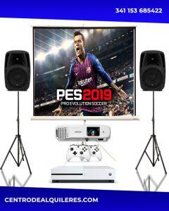 Alquiler de proyector pantalla consola microfonos parlantes audio sonido luces iluminacion videojuegos